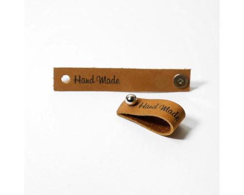 Кожаная бирка Hand Made, цвет коричневый