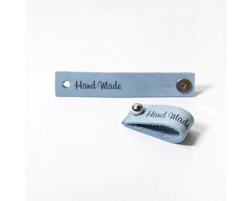 Кожаная бирка Hand Made, цвет голубой