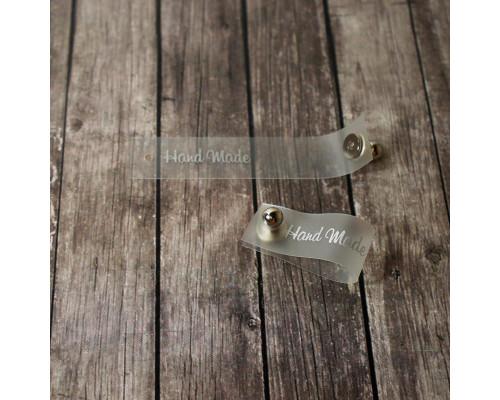Силиконовая бирка Hand Made с кнопкой серебряная печать 1, 5х7см