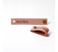 Кожаная бирка Hand Made, цвет розовый