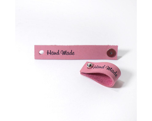 Кожаная бирка Hand Made, цвет ярко розовый
