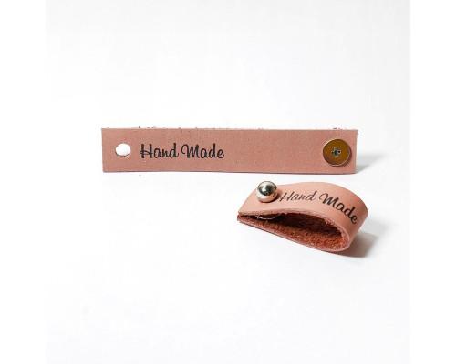 Кожаная бирка Hand Made, цвет пыльная роза