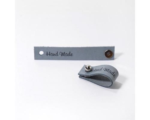 Кожаная бирка Hand Made, цвет св.серый