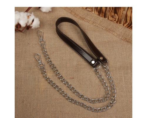 Ручка для сумки, с цепочками и карабинами, 120 × 1,8 см, цвет коричневый