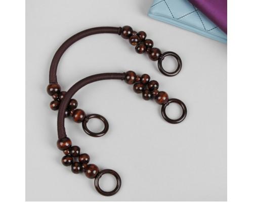 Ручки для сумки, 2 шт, вощёный шнур/дерево, 46,5 × 4 см, цвет коричневый