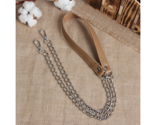 Ручка для сумки, кожаная, с цепочками и карабинами, 120 × 1,8 см, цвет бежевый