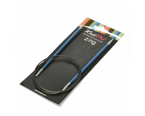 Knit Pro Спицы круговые Zing 4мм/100см, алюминий