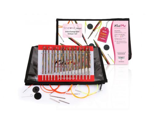 "Knit Pro Набор ""Deluxe Set"" съемных спиц ""Symfonie"" 3,5-8мм, тросик 60см, 80см, 100см, 120см, дерево, 8 видов спиц"